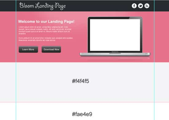 Design a Clean Landing Page Template in Photoshop Free PSD