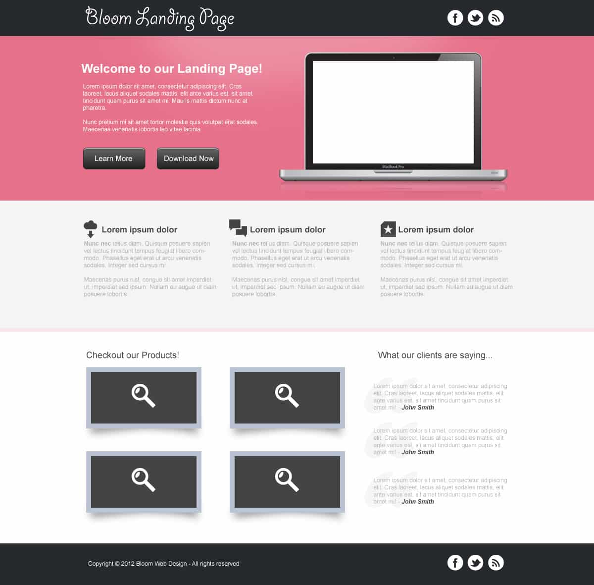 Design a Clean Landing Page Template in Photoshop (Free PSD ...