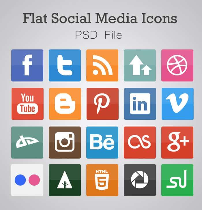 Free Flat Social Media Icons (PSD) -DesignBump