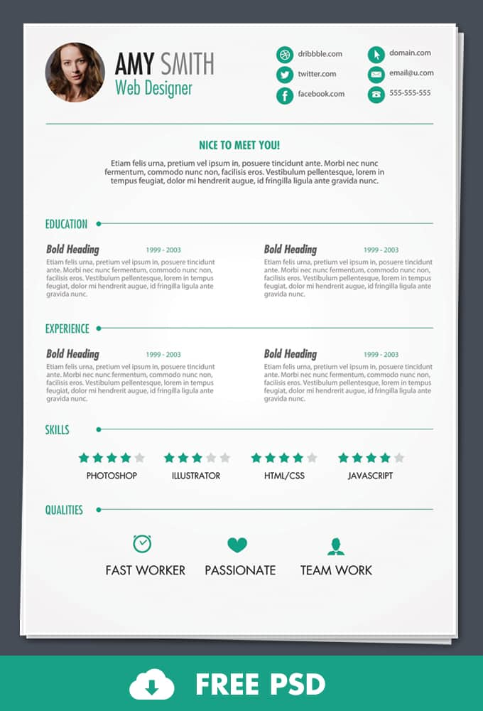 free psd print ready resume template 30