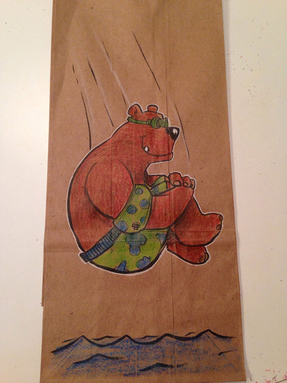 Dad Draws Lunch Bag Cartoon Character Illustrations