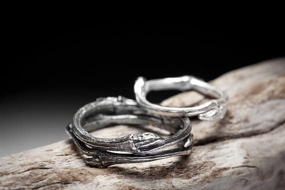 twig band set 165 - Unconventional Wedding Rings