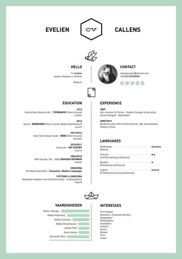 27 minimalist examples of résumé designs designbump
