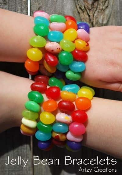 String together these jelly bean bracelets.