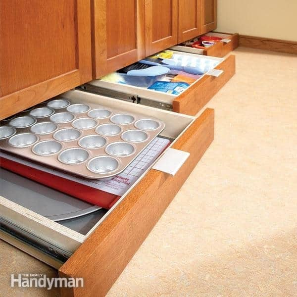 Maximize your space with baseboard drawers.