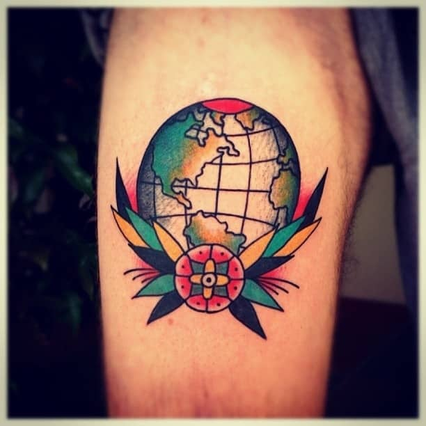 45 Space Tattoo Ideas For Astronomy Lovers Designbump: 46 Inspiring Travel Tattoos That Kick Ass -DesignBump