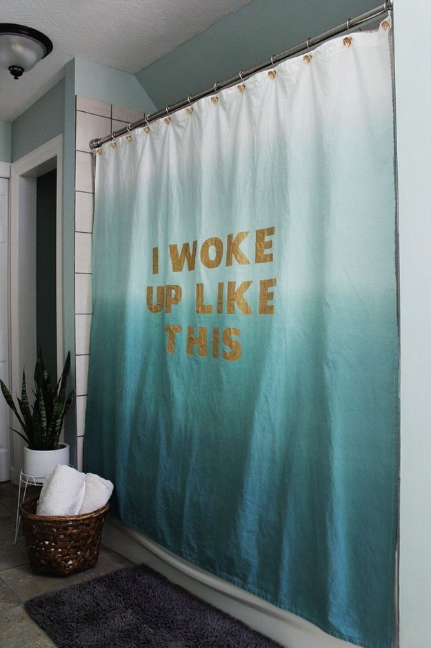 Charming Belt Your Best Beyoncé Impression Behind A Stenciled Lyric Shower Curtain.