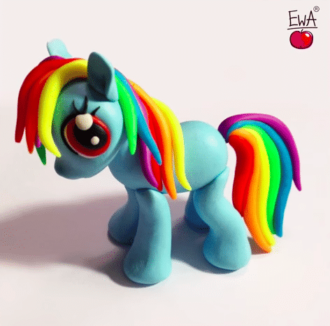 Polymer Clay Rainbow Dash Figurine