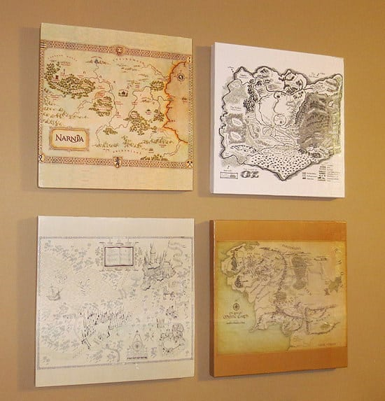 Wooden Geeky Maps Wall Art