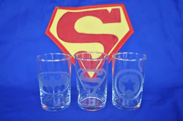 Etched Superhero Glasses
