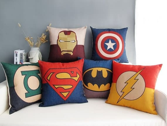 These pillows are the perfect final touch for a superhero themed bed. 23 DIY Ideas For Making An Awesome Superhero Bedroom  DesignBump