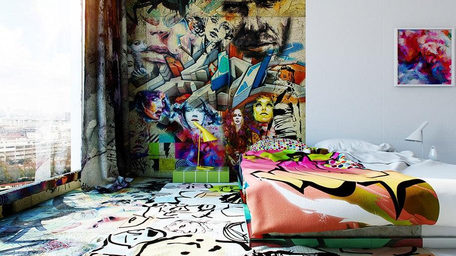 Street art invades hotel room with half graffiti half - Bedroom wall graffiti ideas ...