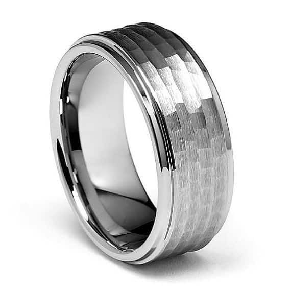 Comfort Fit Hammered Tungsten Band