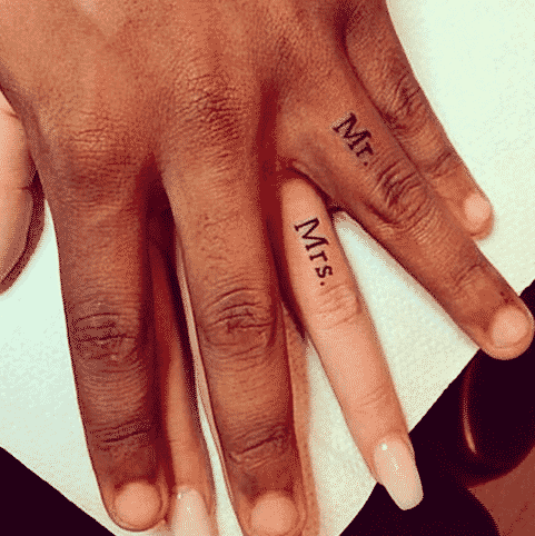 Classic Mr. and Mrs. Ring Finger Tattoos