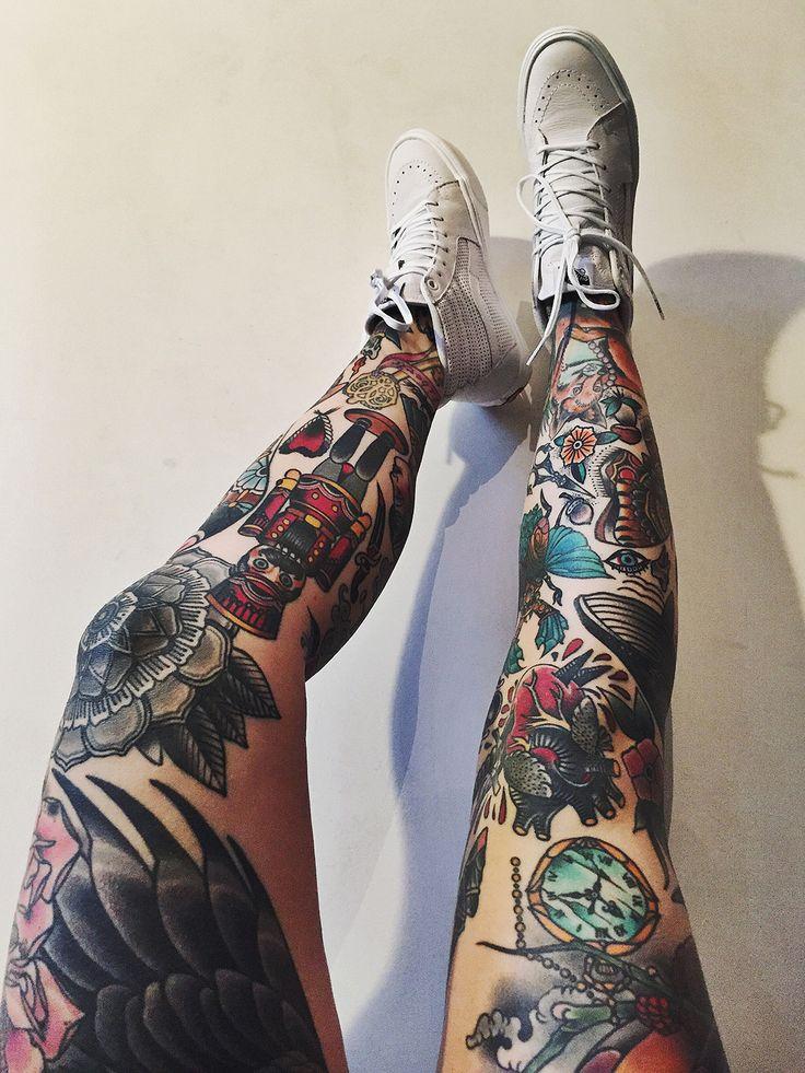 22 awesome leg sleeve tattoos designbump. Black Bedroom Furniture Sets. Home Design Ideas
