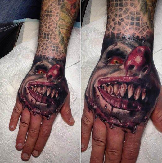 36 creepiest clown tattoos designbump. Black Bedroom Furniture Sets. Home Design Ideas