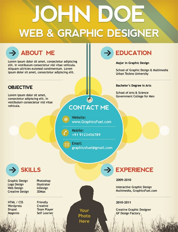 Psd One Page Resume Templates Designbump