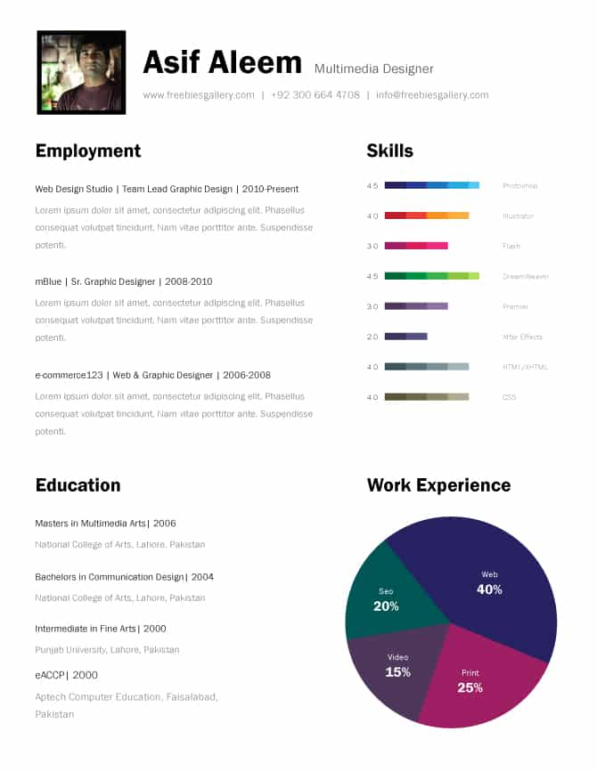 11 Psd One Page Resume Templates -Designbump