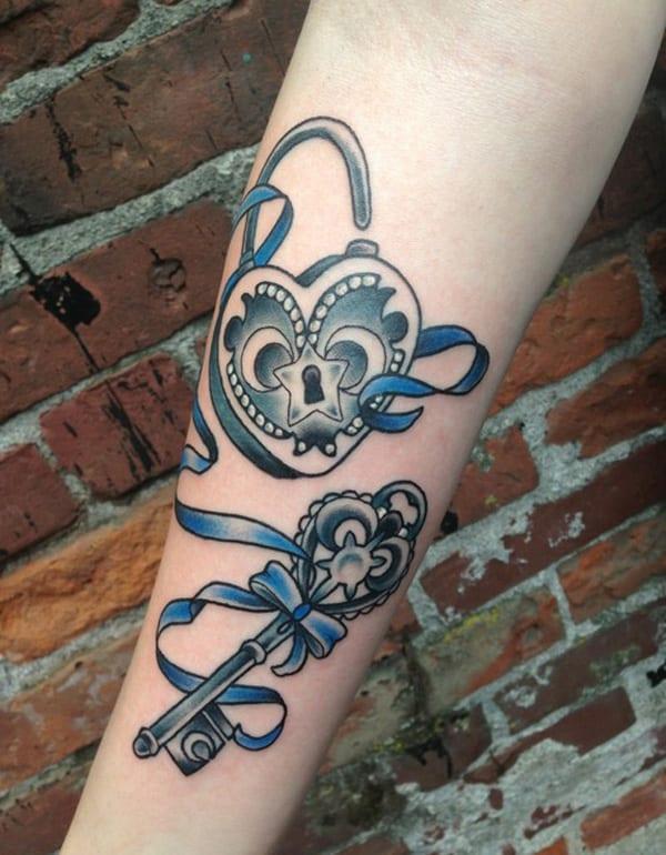 38 inspiring lock and key tattoos designbump. Black Bedroom Furniture Sets. Home Design Ideas