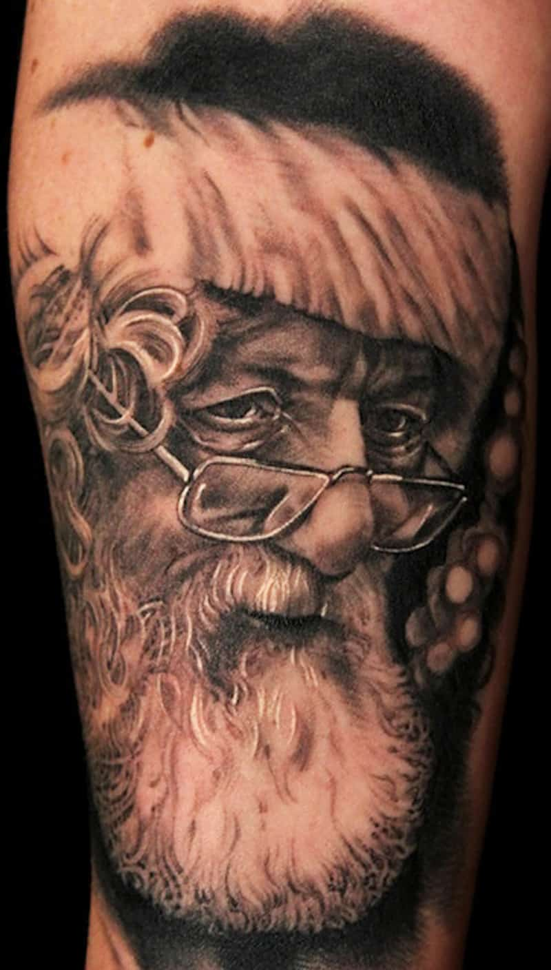 Black and White Santa Tattoo