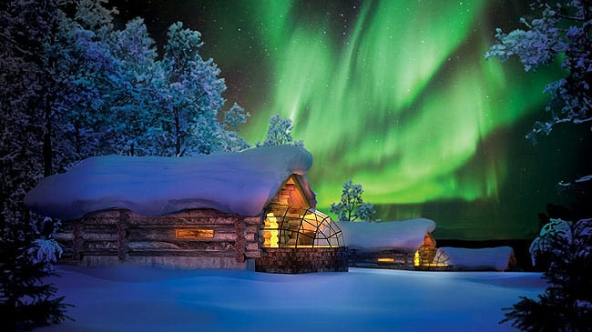 Kakslauttanen Hotel in Finland is located in the homeland of Santa Claus