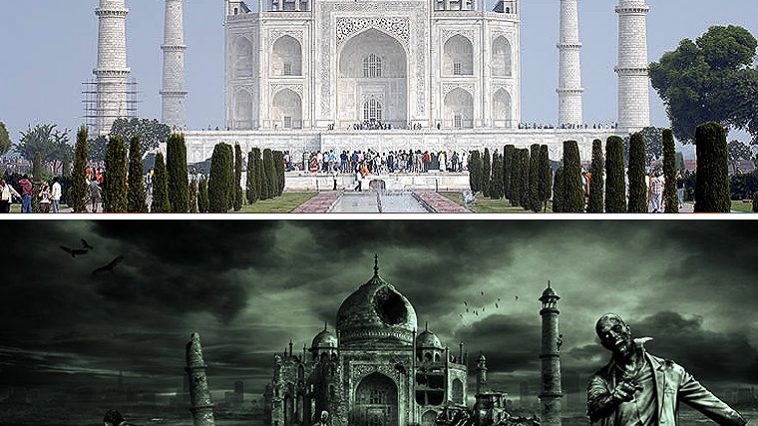 How the zombie apocalypse might take its toll on The Taj Mahal in India. Zombies would happily destroy the Taj Mahal too. Zombies care little for the state of the economy in India.