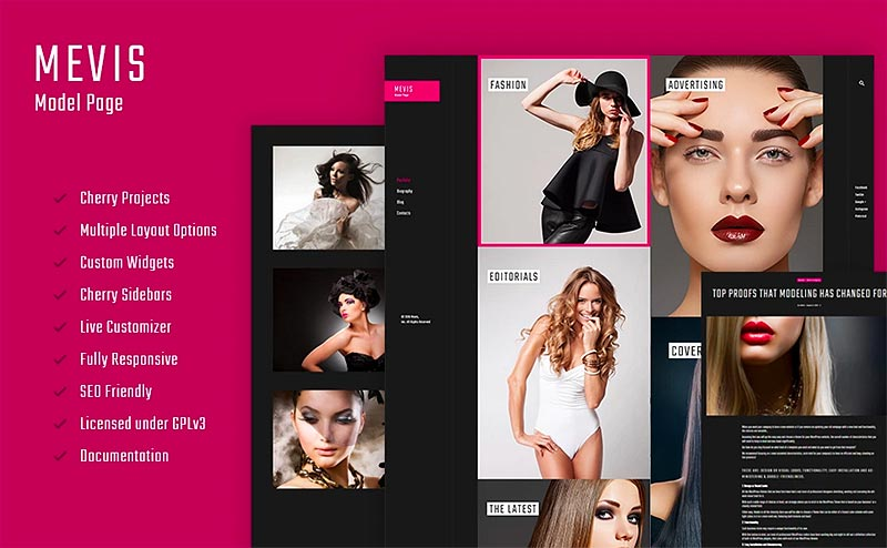 Mevis - Model Personal Page Photography WordPress Theme