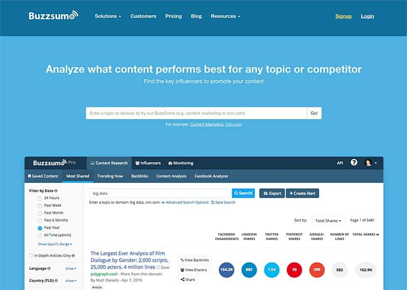 BuzzSumo traffic and influencer intelligence