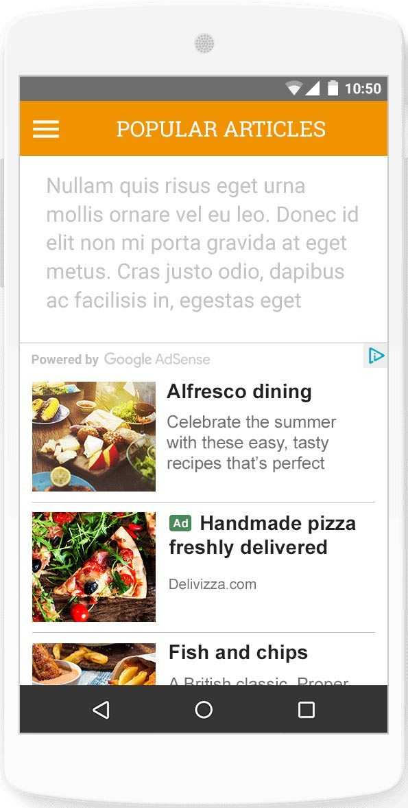 An example of Adsense Native Ads on a mobile device.